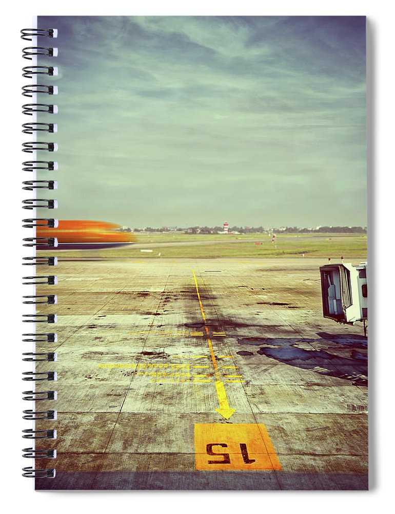 Tranquility Spiral Notebook featuring the photograph Apron Of Airport, Jetbridge And Moving by Elisabeth Schmitt