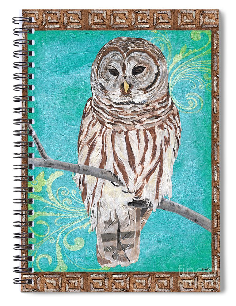 Owl Spiral Notebook featuring the painting Aqua Barred Owl by Debbie DeWitt