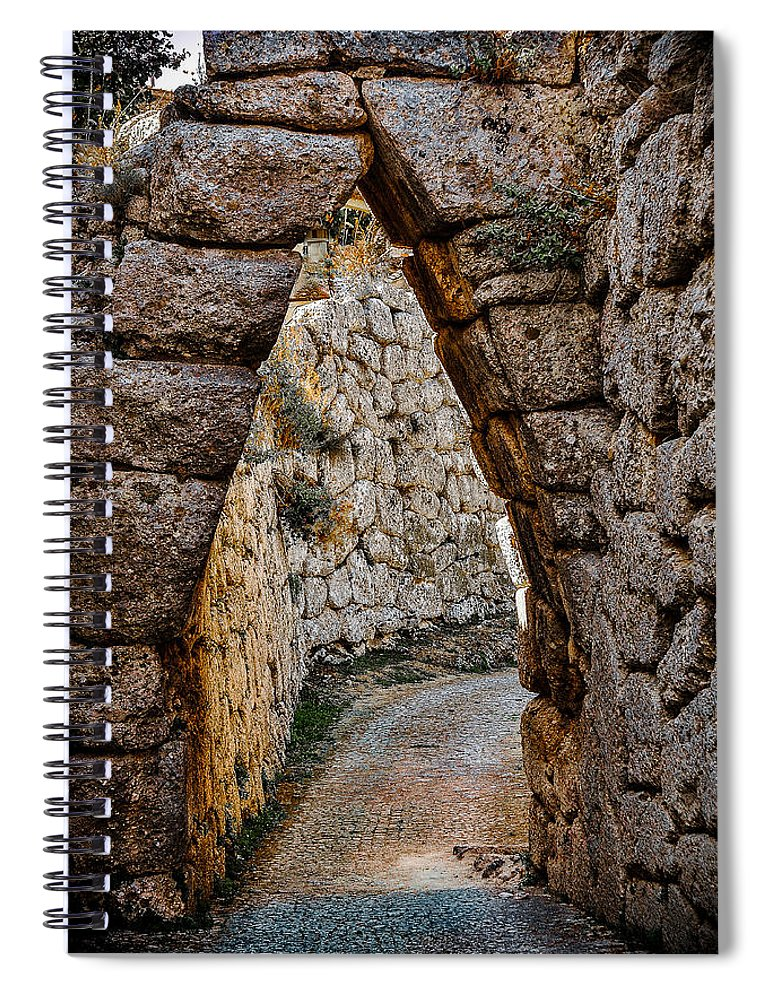 Medieval Spiral Notebook featuring the photograph Arched Medieval Gate by Dany Lison