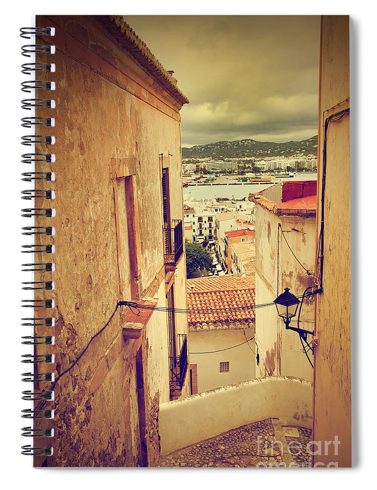 Ibiza Spiral Notebook featuring the photograph Architecture Of Old City Of Ibiza Spain by Michal Bednarek
