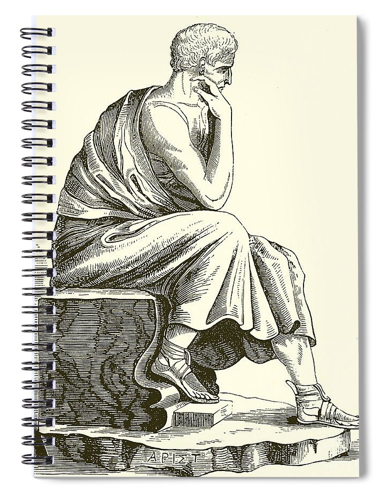 Aristotle Spiral Notebook featuring the drawing Aristotle by English School