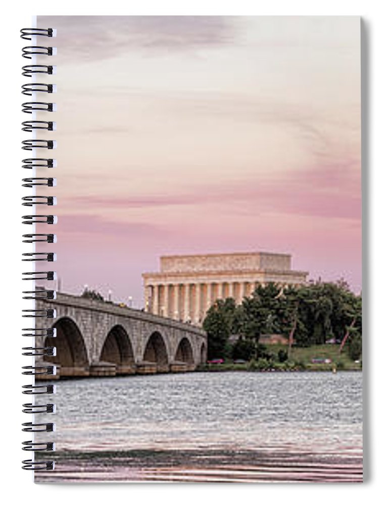 Photography Spiral Notebook featuring the photograph Arlington Memorial Bridge With Lincoln by Panoramic Images