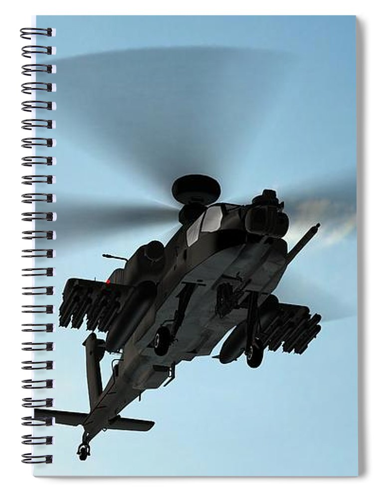 Wind Spiral Notebook featuring the photograph Armed Longbow Apache Helicopter In by Bestgreenscreen