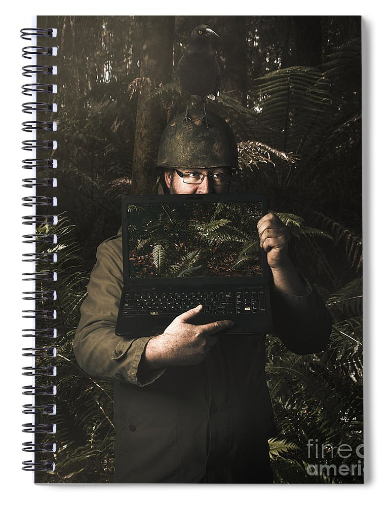 Security Spiral Notebook featuring the photograph Army Soldier With Security Screen Saver by Jorgo Photography - Wall Art Gallery