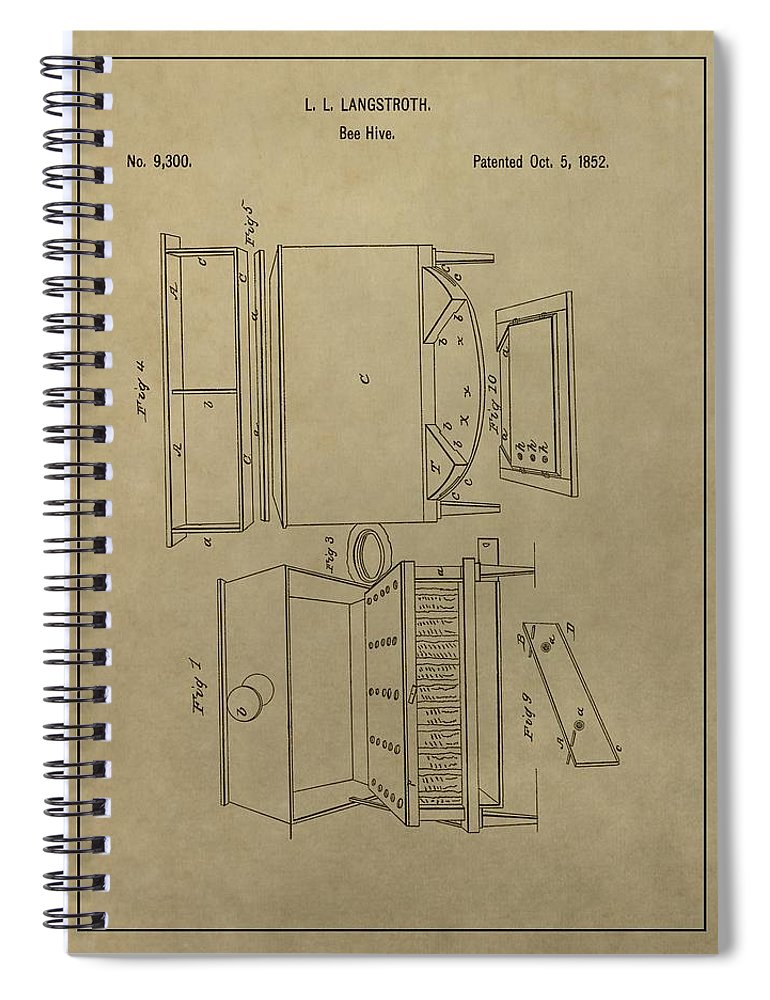 Artificial Bee Hive Patent Spiral Notebook featuring the drawing Artificial Bee Hive Patent by Dan Sproul
