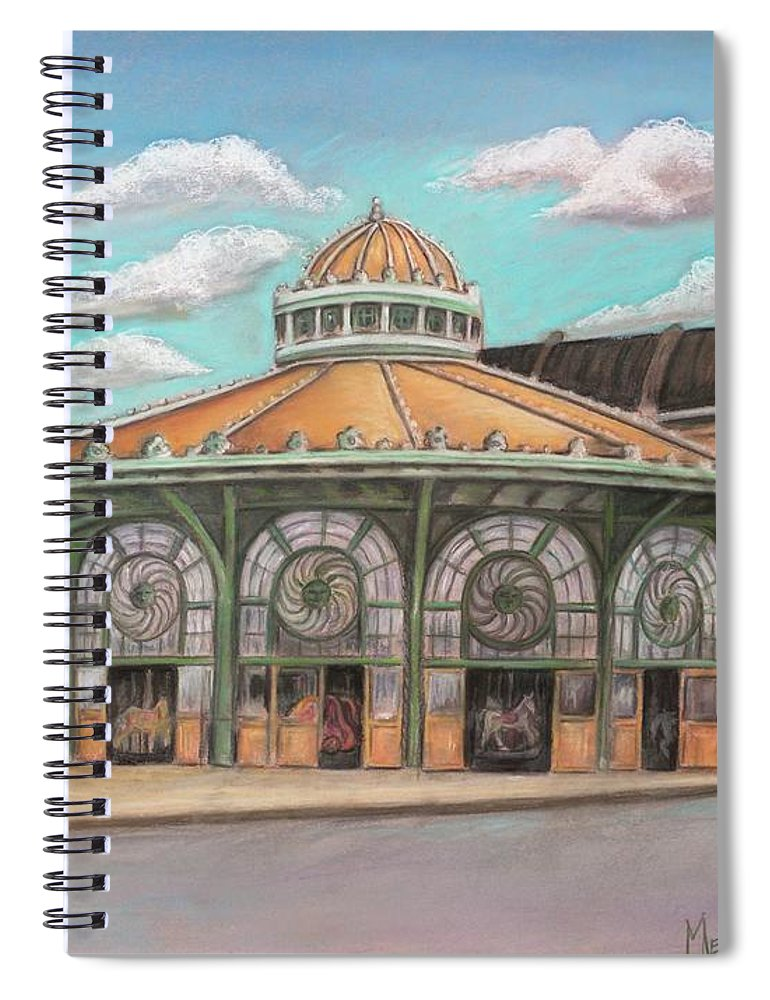 Carousel House Spiral Notebook featuring the painting Asbury Park Carousel House by Melinda Saminski