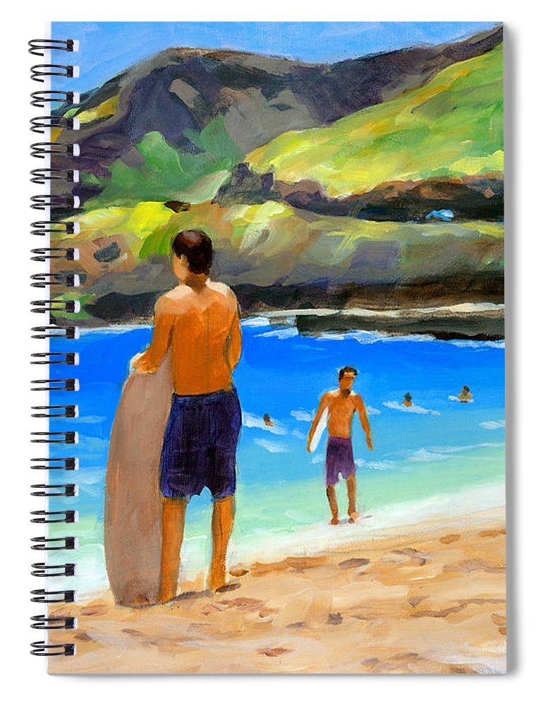 Landscape Spiral Notebook featuring the painting At Sandy Beach by Douglas Simonson