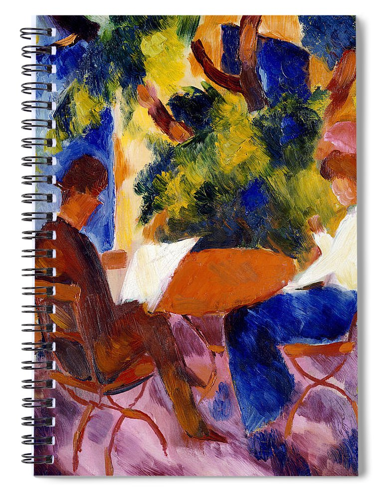 At The Garden Table Spiral Notebook featuring the painting At The Garden Table by August Macke