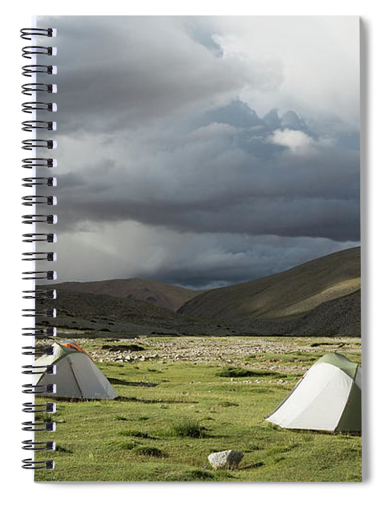 Tranquility Spiral Notebook featuring the photograph Atmospheric Grassy Camping by Jamie Mcguinness - Project Himalaya