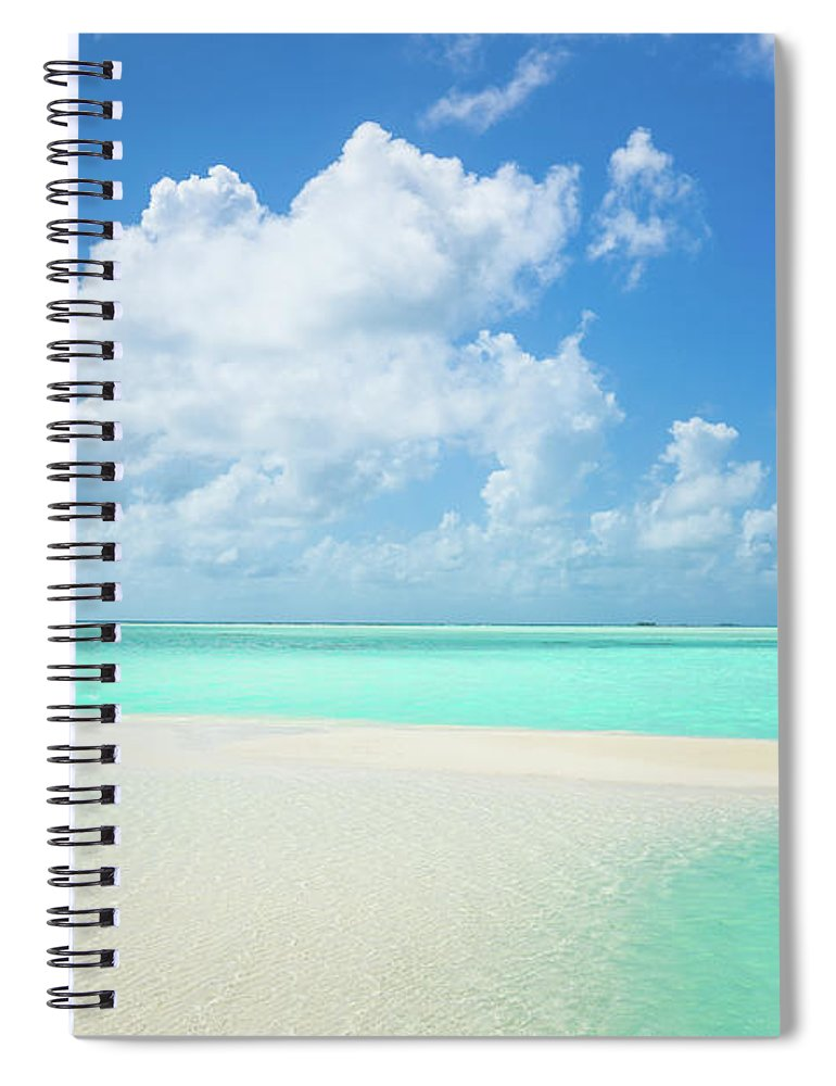 Seascape Spiral Notebook featuring the photograph Atoll Lagoon Sand Bank Turquoise Clear by Mlenny