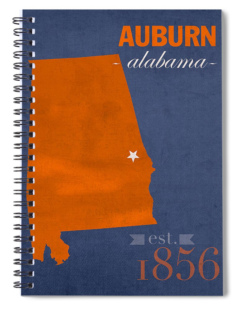 Auburn University Spiral Notebook featuring the mixed media Auburn University Tigers Auburn Alabama College Town State Map Poster Series No 016 by Design Turnpike