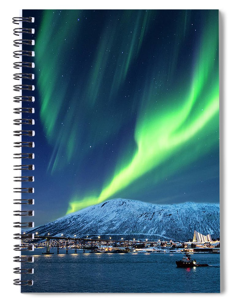 Scenics Spiral Notebook featuring the photograph Aurora Borealis Over Tromso Port by Mike Hill