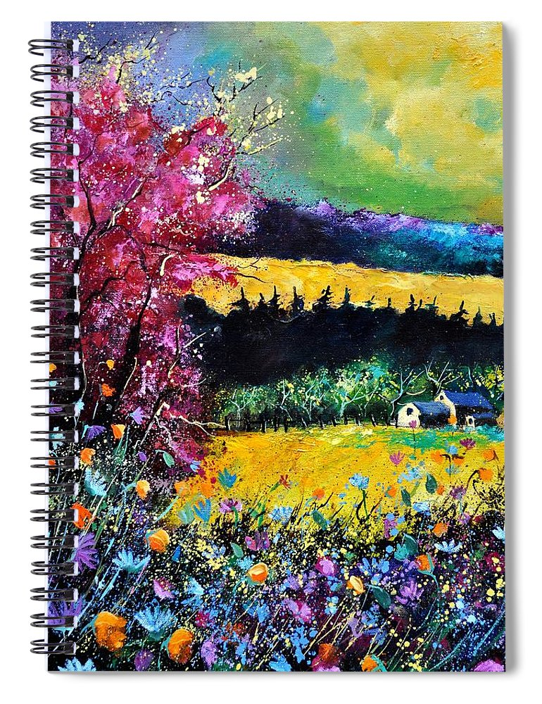 Landscape Spiral Notebook featuring the painting Autumn flowers by Pol Ledent