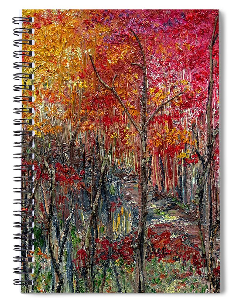 Autumn Spiral Notebook featuring the painting Autumn In The Woods by Karin Dawn Kelshall- Best