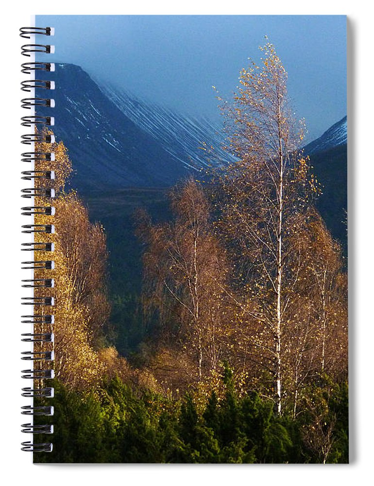 Autumn Spiral Notebook featuring the photograph Autumn Into Winter - Cairngorm Mountains by Phil Banks