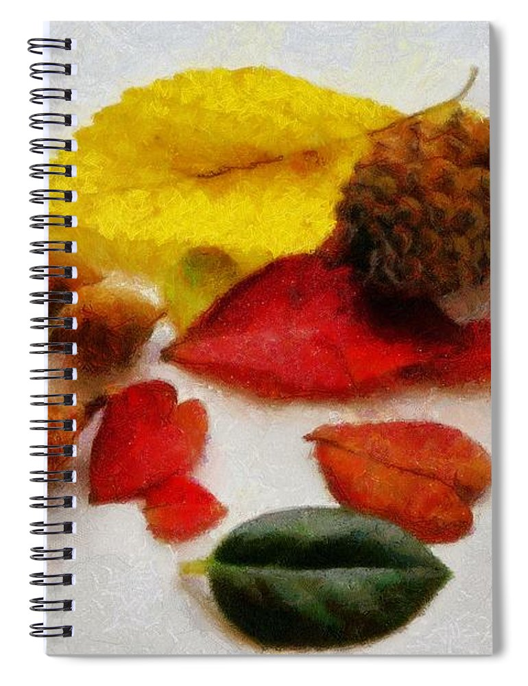 Acorn Spiral Notebook featuring the painting Autumn Medley by Jeffrey Kolker