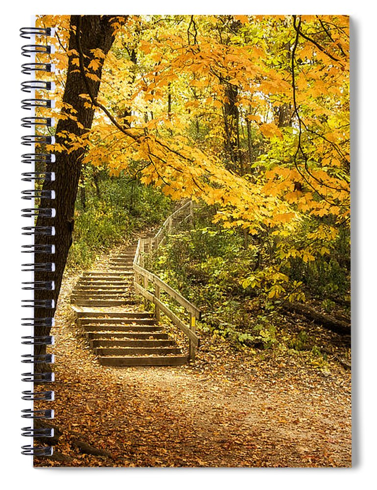 Autumn Spiral Notebook featuring the photograph Autumn Stairs by Scott Norris