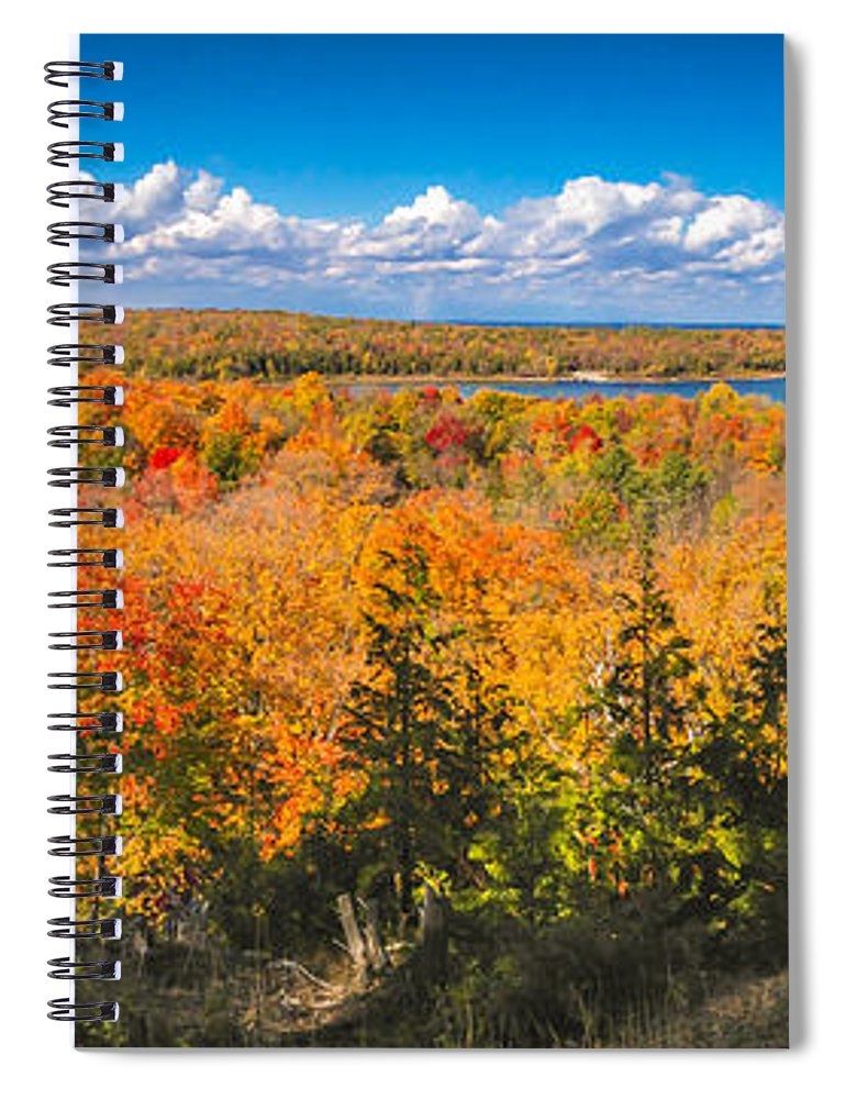 Door County Spiral Notebook featuring the photograph Autumn Vistas of Nicolet Bay by Ever-Curious Photography