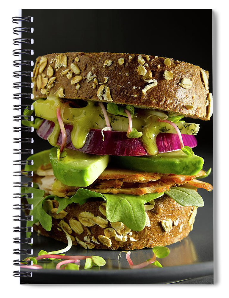 Avocado Spiral Notebook featuring the photograph Avocado And Turkey Sandwich by Howard Bjornson