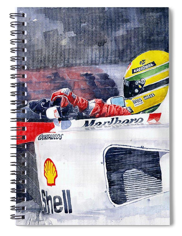 Watercolor Spiral Notebook featuring the painting Ayrton Senna Mclaren 1991 Hungarian Gp by Yuriy Shevchuk