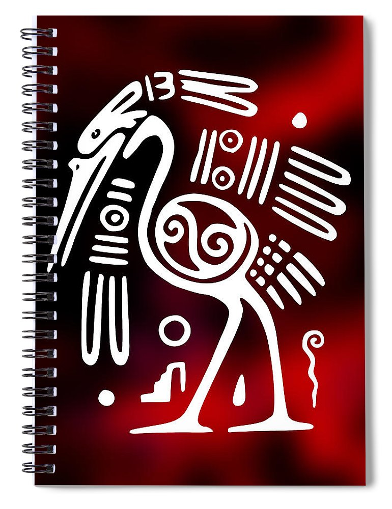 Aztec Ibis Bird Symbol Spiral Notebook For Sale By Daniel Hagerman