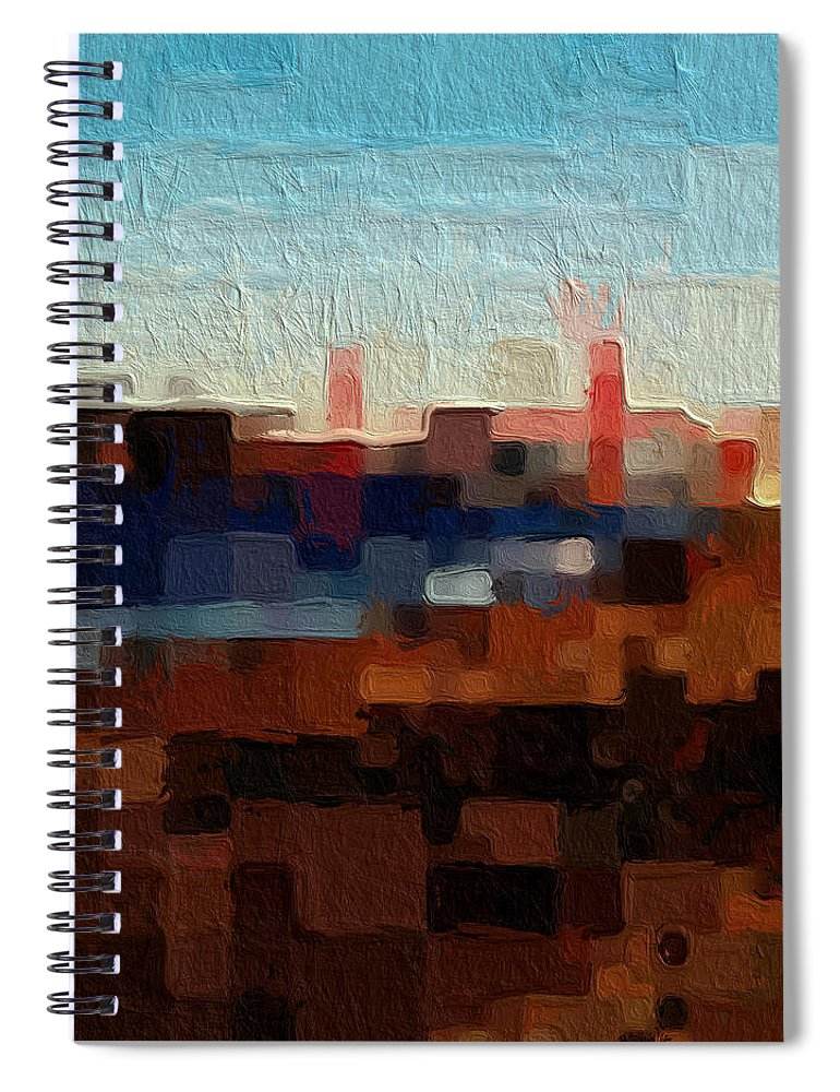 Abstract Art Spiral Notebook featuring the painting Baker Beach by Linda Woods