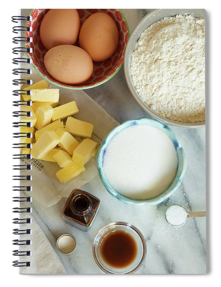 Sugar Spiral Notebook featuring the photograph Baking Ingredients by Beth D. Yeaw