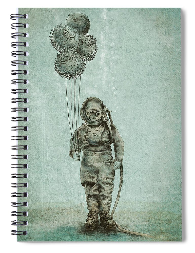 Ocean Spiral Notebook featuring the drawing Balloon Fish by Eric Fan