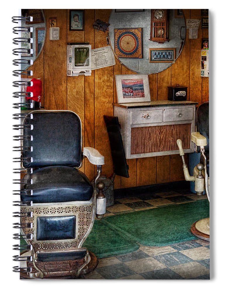 Old Barber Chairs >> Barber Frenchtown Nj Two Old Barber Chairs Spiral Notebook