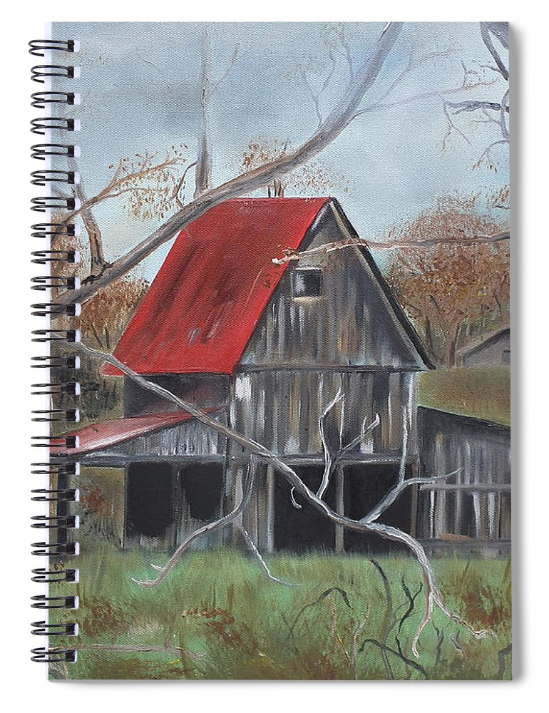 Barn Spiral Notebook featuring the painting Barn - Red Roof - Autumn by Jan Dappen