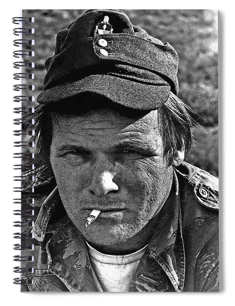 Barry Sadler The Green Berets Homage 1968 Tucson Arizona 1971 Spiral Notebook featuring the photograph Barry Sadler The Green Berets Homage 1968 Tucson Arizona 1971-2008 by David Lee Guss