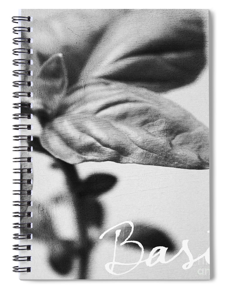 Basil Spiral Notebook featuring the mixed media Basil by Linda Woods
