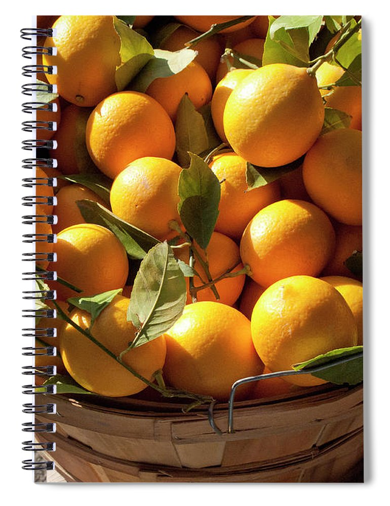 Orange Spiral Notebook featuring the photograph Basket Of Fresh Picked Oranges by Bill Boch
