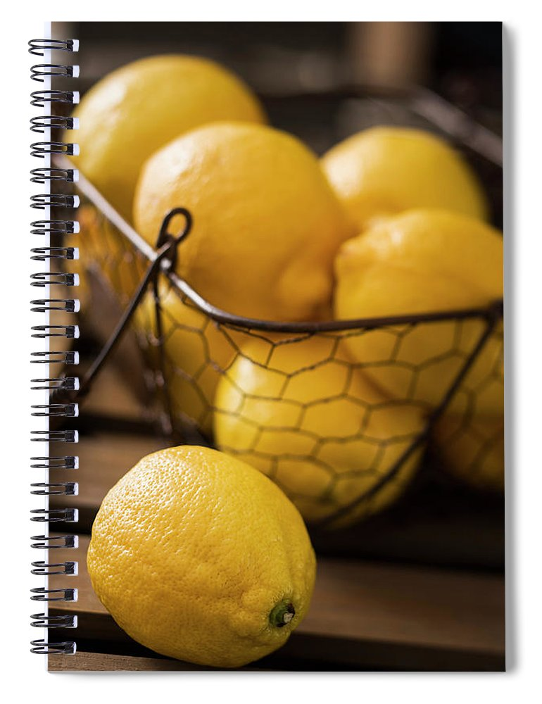 Vitamin C Spiral Notebook featuring the photograph Basket With Organic Lemons Fresh From by Gmvozd