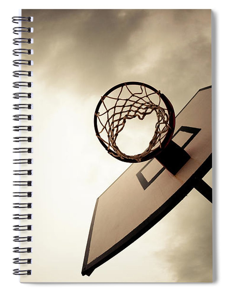 Goal Spiral Notebook featuring the photograph Basketball Hoop, Dramatic Sky by Zodebala