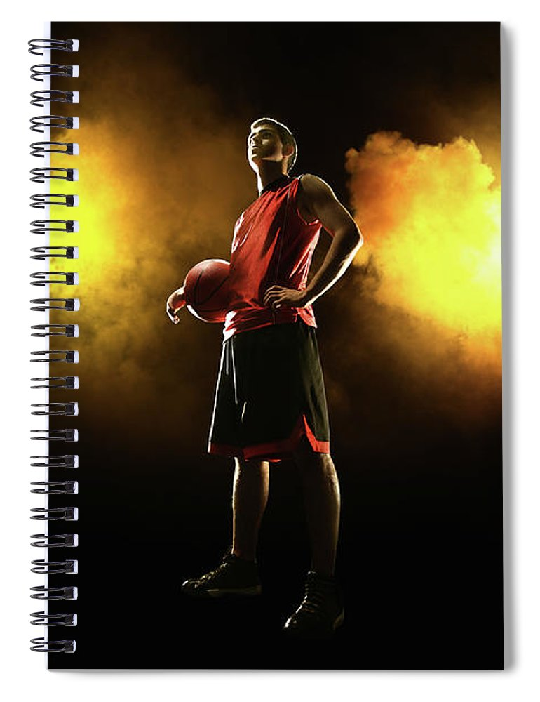 People Spiral Notebook featuring the photograph Basketball Player On Smoky Yellow by Stanislaw Pytel
