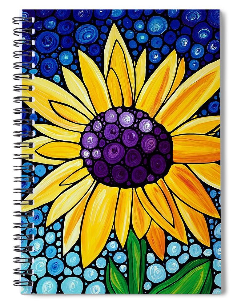 Floral Art Spiral Notebook featuring the painting Basking In The Glory by Sharon Cummings