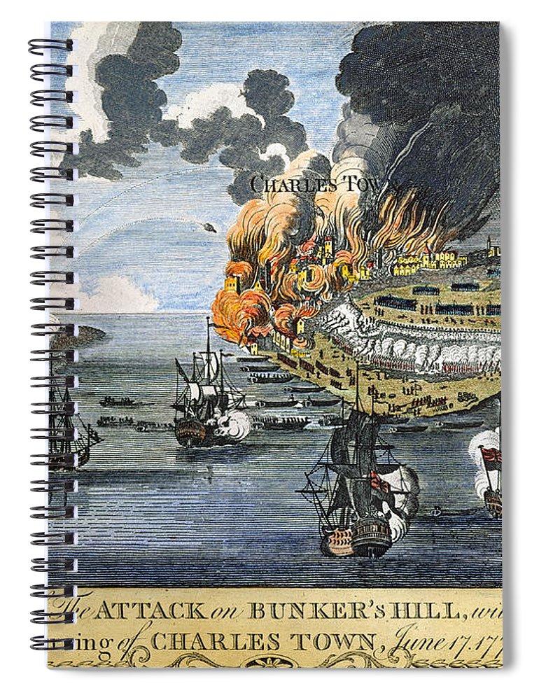 1775 Spiral Notebook featuring the photograph Battle Of Bunker Hill, 1775 by Granger