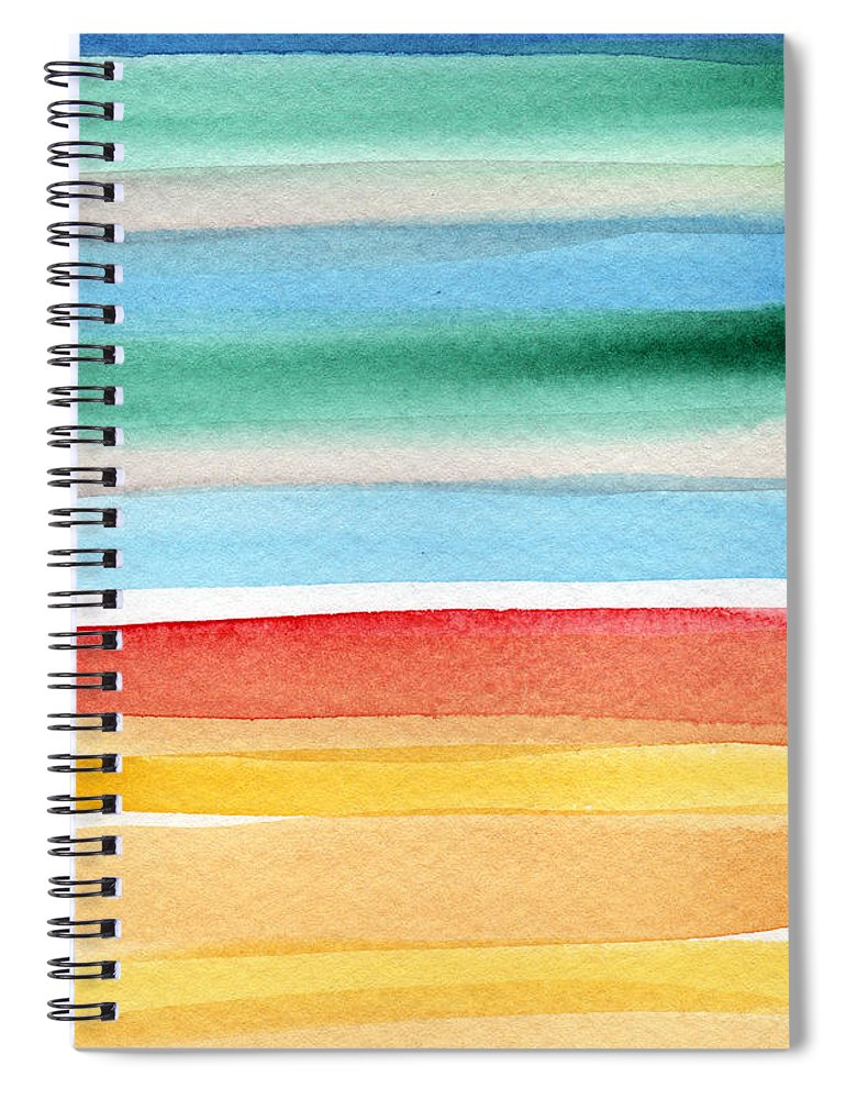 Beach Landscape Painting Spiral Notebook featuring the painting Beach Blanket- colorful abstract painting by Linda Woods