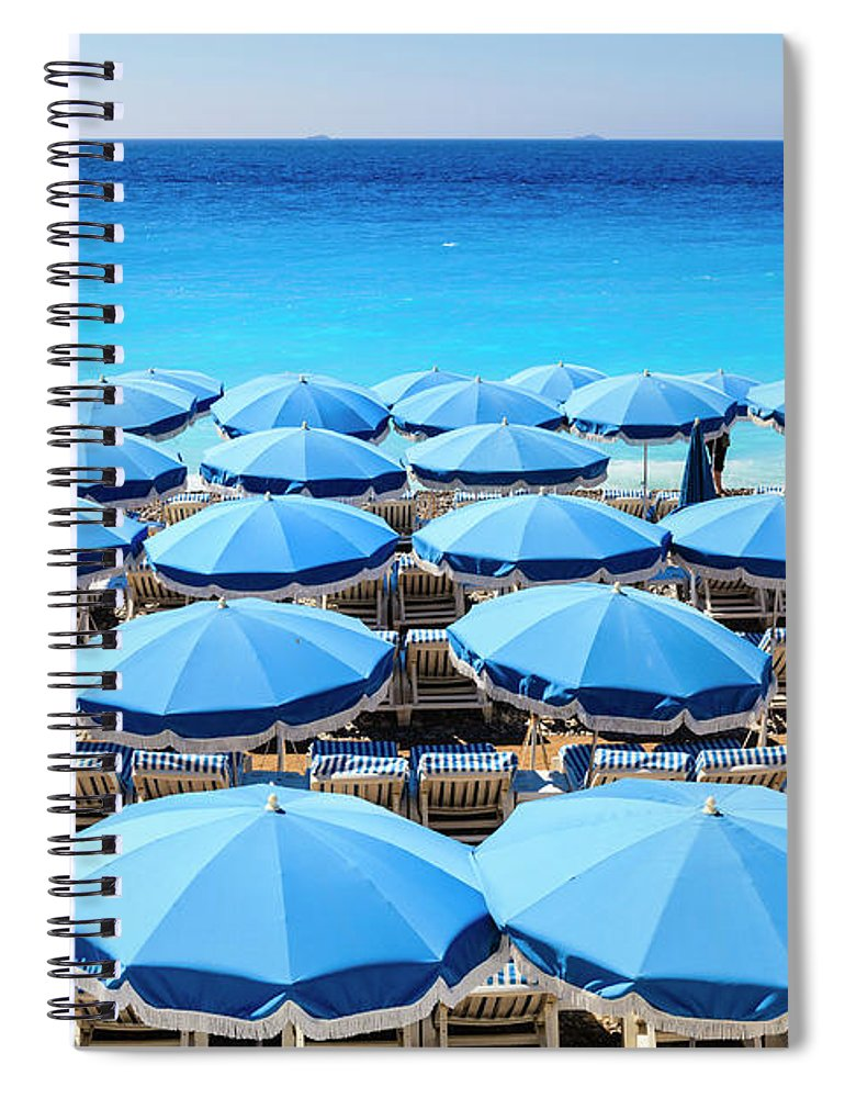 Outdoors Spiral Notebook featuring the photograph Beach Parasols, Nice by Fraser Hall