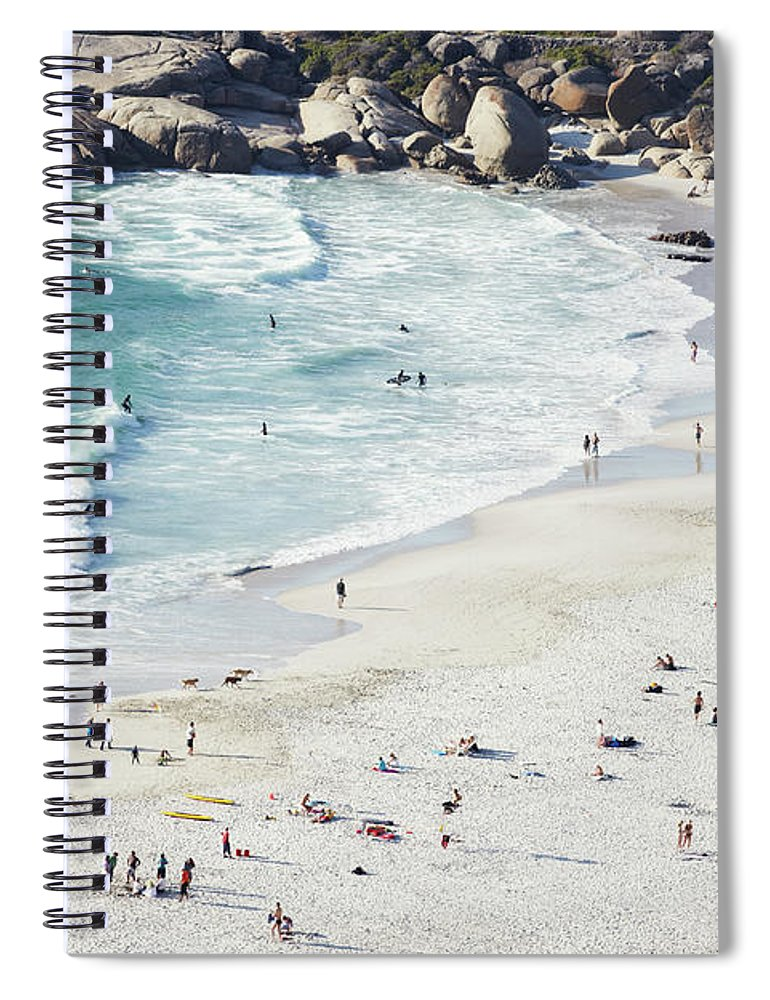 Sunbathing Spiral Notebook featuring the photograph Beach With Swimmers Cape Town by Michael Blann