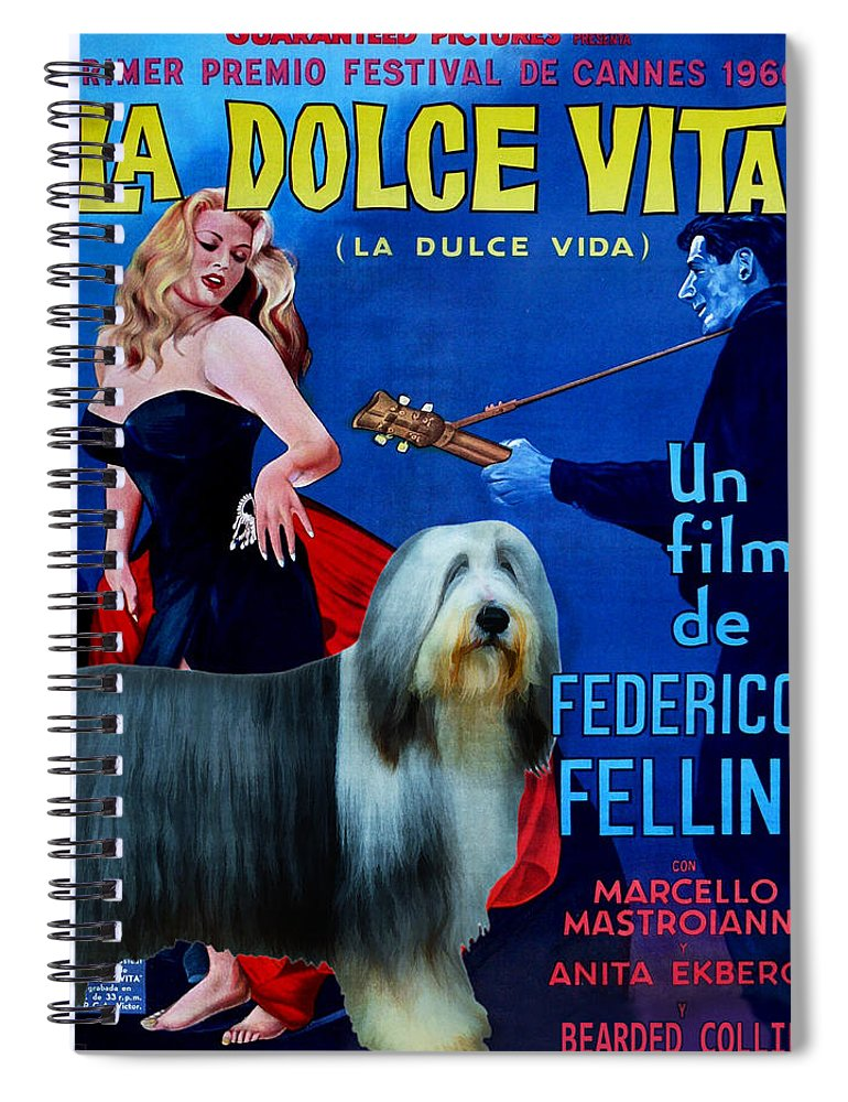 Bearded Collie Spiral Notebook featuring the painting Bearded Collie Art Canvas Print - La Dolce Vita Movie Poster by Sandra Sij