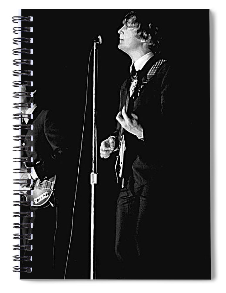Beatles Spiral Notebook featuring the photograph Beatles In Concert, 1964 by Larry Mulvehill