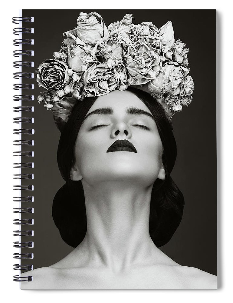 Crown Spiral Notebook featuring the photograph Beautiful Woman With Wreath Of Flowers by Lambada