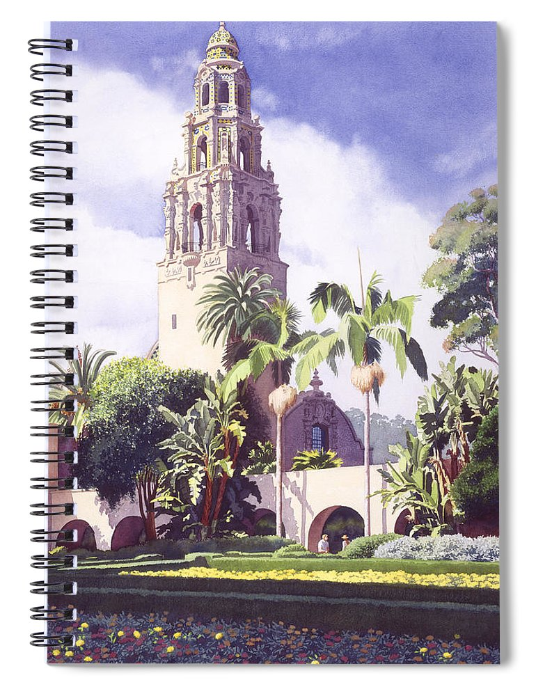 Bell Spiral Notebook featuring the painting Bell Tower In Balboa Park by Mary Helmreich