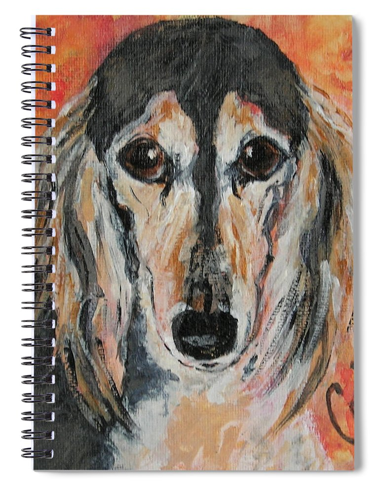 Saluki Spiral Notebook featuring the painting Bella by Cori Solomon