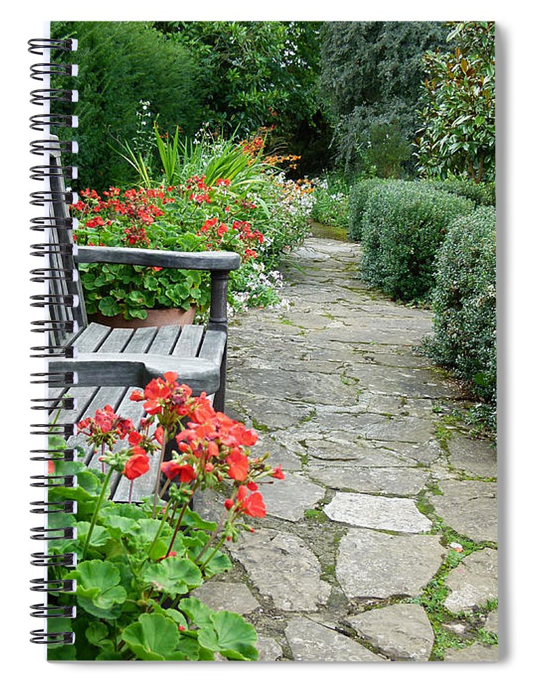 Bench Spiral Notebook featuring the photograph Bench In Borde Hill Gardens by Vanessa Thomas