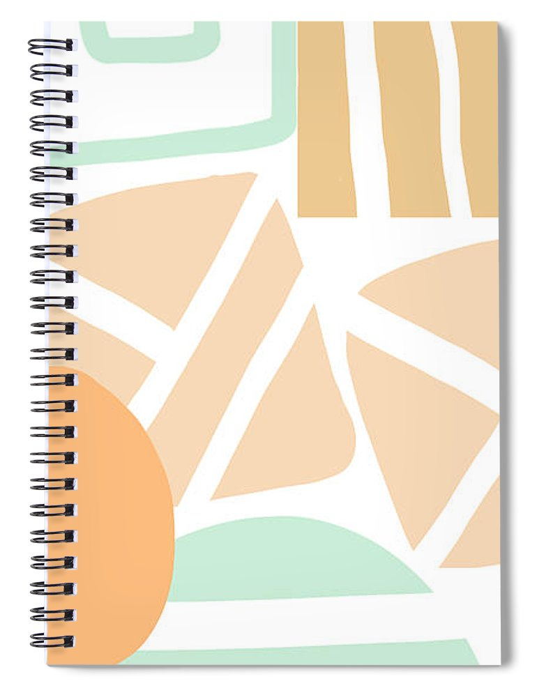 Abstract Spiral Notebook featuring the mixed media Bento 3- abstract shapes art by Linda Woods