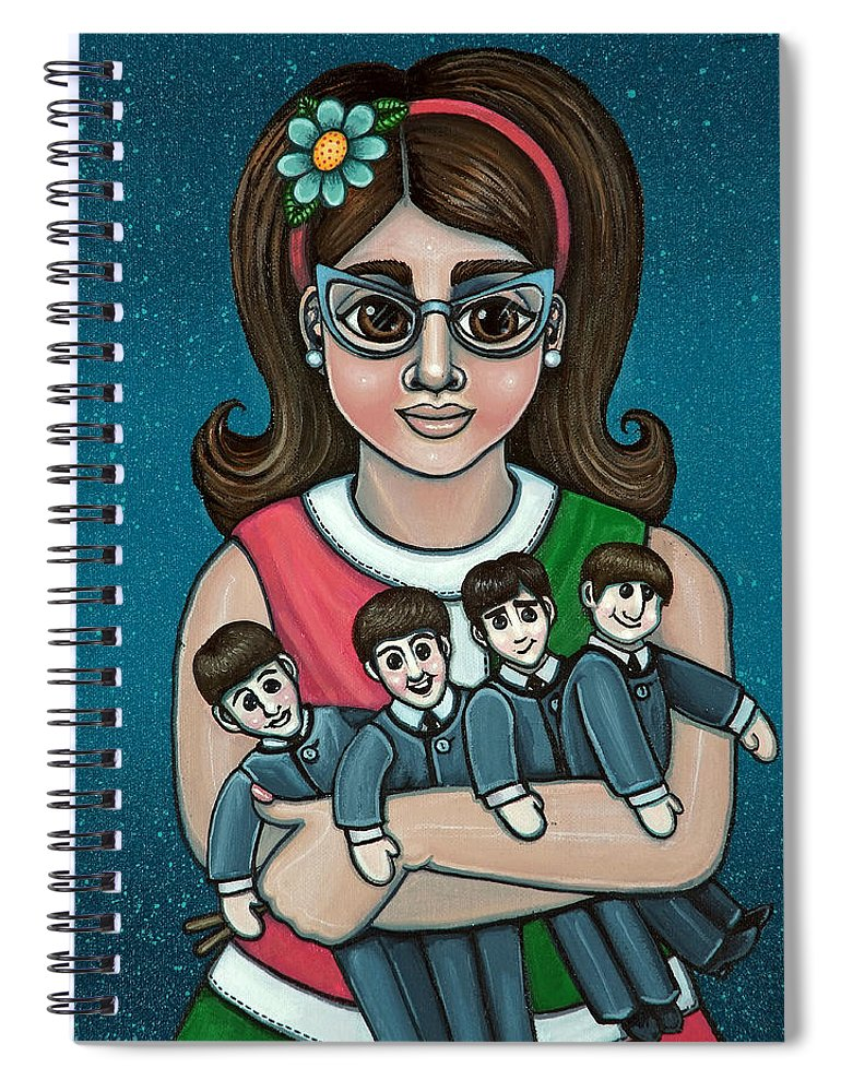 1960 Spiral Notebook featuring the painting Betty Jeans BEATLES by Victoria Jones