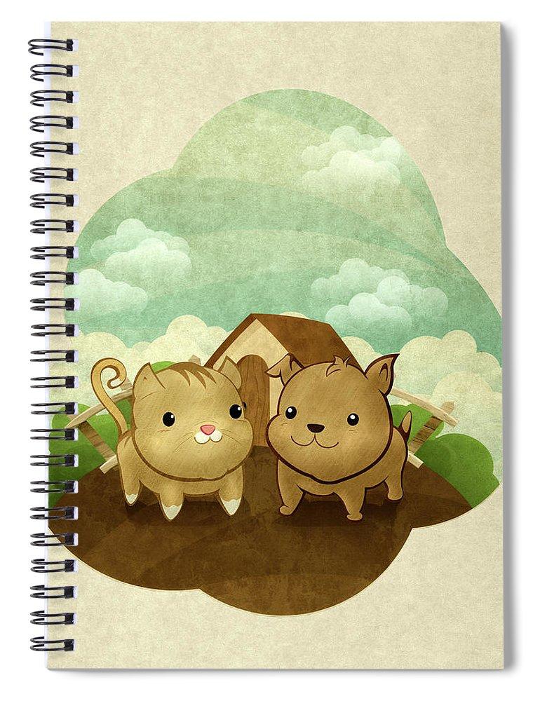 Pets Spiral Notebook featuring the digital art Bichos by Por Caio Ramos